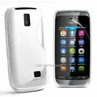 Housse etui coque silicone gel BLANC pour Nokia Asha 308 309 + film ecran