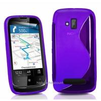 Housse etui coque silicone gel MAUVE pour Nokia Lumia 610 + film ecran