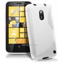 Housse etui coque silicone gel BLANC pour Nokia Lumia 620 + film ecran