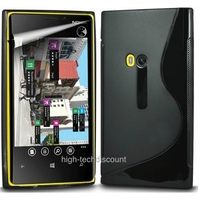 Housse etui coque silicone gel NOIR pour Nokia Lumia 920 + film ecran