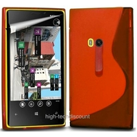 Housse etui coque silicone gel ROUGE pour Nokia Lumia 920 + film ecran