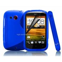 Housse etui coque silicone gel BLEU pour HTC Desire C + film ecran