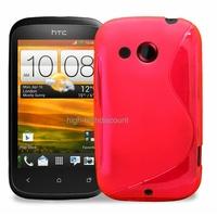 Housse etui coque silicone gel ROSE pour HTC Desire C + film ecran