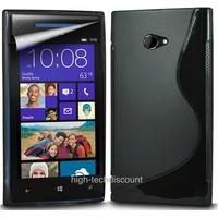 Housse etui coque silicone gel NOIR pour Windows Phone 8X by HTC + film ecran