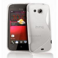 Housse etui coque pochette silicone gel pour HTC Desire 200 + film ecran - BLANC