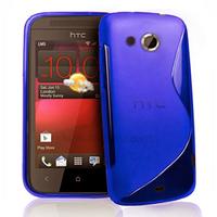 Housse etui coque pochette silicone gel pour HTC Desire 200 + film ecran - BLEU