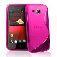 Housse etui coque pochette silicone gel pour HTC Desire 200 + film ecran - ROSE