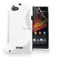 Housse etui coque pochette silicone gel pour Sony Xperia L + film ecran - BLANC