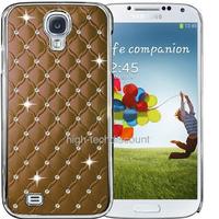 Housse etui coque chrome rigide pour Samsung i9500 i9505 Galaxy s4 IV + film ecran - MARRON
