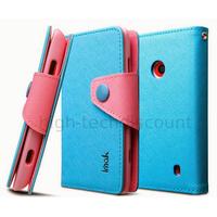 Housse etui coque portefeuille pour Nokia Lumia 520 + film ecran - BLEU