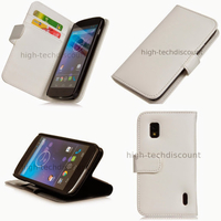 Housse etui coque portefeuille pour Google LG Nexus 4 + film ecran - BLANC