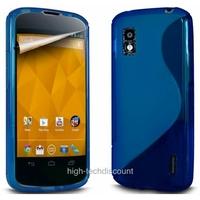 Housse etui coque silicone gel BLEU pour LG Google Nexus 4 + film ecran