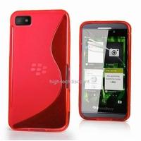 Housse etui coque silicone gel ROUGE pour Blackberry Z10 + film ecran