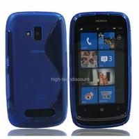 Housse etui coque silicone gel BLEU pour Nokia Lumia 610 + film ecran