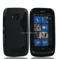 Housse etui coque silicone gel NOIR pour Nokia Lumia 610 + film ecran