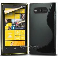 Housse etui coque silicone gel NOIR pour Nokia Lumia 820 + film ecran