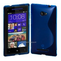 Housse etui coque silicone gel BLEU pour Windows Phone 8S by HTC + film ecran
