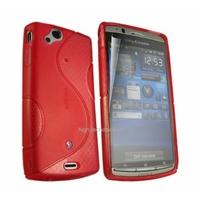 Housse etui coque silicone gel ROUGE pour Sony Ericsson Xperia Arc / Arc S + film ecran