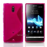 Housse etui coque silicone gel ROSE pour Sony Xperia P + film ecran