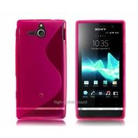 Housse etui coque silicone gel ROSE pour Sony Xperia U + film ecran