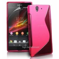 Housse etui coque silicone gel ROSE pour Sony Xperia Z + film ecran