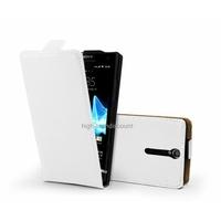 Housse etui coque cuir BLANC pour Sony Xperia S + film ecran