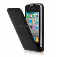 Housse etui coque cuir NOIR pour Apple iPhone 4S / iPhone 4 + film ecran