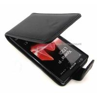 Housse etui coque simili cuir NOIR pour Sony Xperia P + film ecran