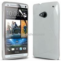 Housse etui coque silicone gel BLANC pour HTC One (M7) + film ecran