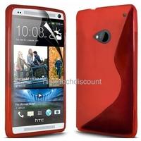 Housse etui coque silicone gel ROUGE pour HTC One (M7) + film ecran