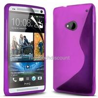 Housse etui coque silicone gel MAUVE pour HTC One (M7) + film ecran