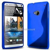Housse etui coque silicone gel BLEU pour HTC One (M7) + film ecran