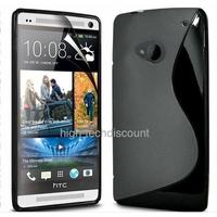 Housse etui coque silicone gel NOIR pour HTC One (M7) + film ecran