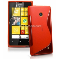 Housse etui coque silicone gel ROUGE pour Nokia Lumia 520 + film ecran