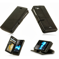 Housse etui coque portefeuille pour Sony Xperia J + film ecran - NOIR