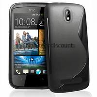 Housse etui coque pochette silicone gel pour HTC Desire 500 + film ecran - NOIR