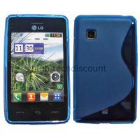 Housse etui coque pochette silicone gel pour LG T385 + film ecran - BLEU
