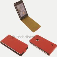 Housse etui coque pochette cuir fine pour Nokia Lumia 520 + film ecran - ROUGE