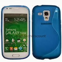 Housse etui coque silicone gel pour Samsung s7580 Galaxy Trend Plus + film ecran - BLEU