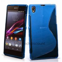 Housse etui coque pochette silicone gel pour Sony Xperia Z1 + film ecran - BLEU