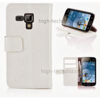 Housse etui coque portefeuille pour Samsung s7580 Galaxy Trend Plus + film ecran - BLANC