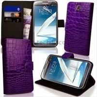 Housse etui coque portefeuille pour Samsung Galaxy Note 3 n9000 n9005 + film ecran - MAUVE