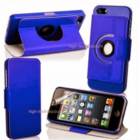 Housse etui coque 360 rotatif BLEU pour Apple iPhone 5 5S 5G + film ecran