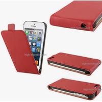 Housse etui coque cuir ROUGE pour Apple iPhone 5 5S 5G + film ecran