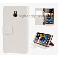 Housse etui coque portefeuille pour HTC One Mini (M4) + film ecran - BLANC