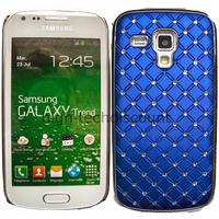 Housse etui coque rigide pour Samsung s7580 Galaxy Trend Plus + film ecran - CHROME BLEU
