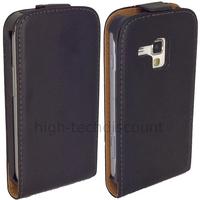 Housse etui coque cuir fine pour Samsung s7580 Galaxy Trend Plus + film ecran - NOIR