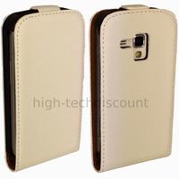 Housse etui coque cuir fine pour Samsung s7580 Galaxy Trend Plus + film ecran - BLANC