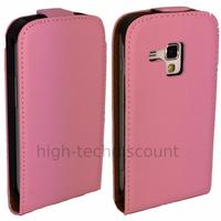 Housse etui coque cuir fine pour Samsung s7580 Galaxy Trend Plus + film ecran - ROSE