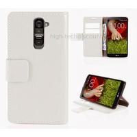 Housse etui coque portefeuille pour LG G2 + film ecran - BLANC